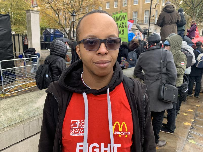 Daniel Nkwocha-Dyer at a McStrike protest. Photo: Yahoo Finance UK / Tom Belger
