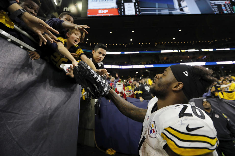 Le'Veon Bell got no sympathy from his Steeler teammates on Wednesday. (Getty Images)