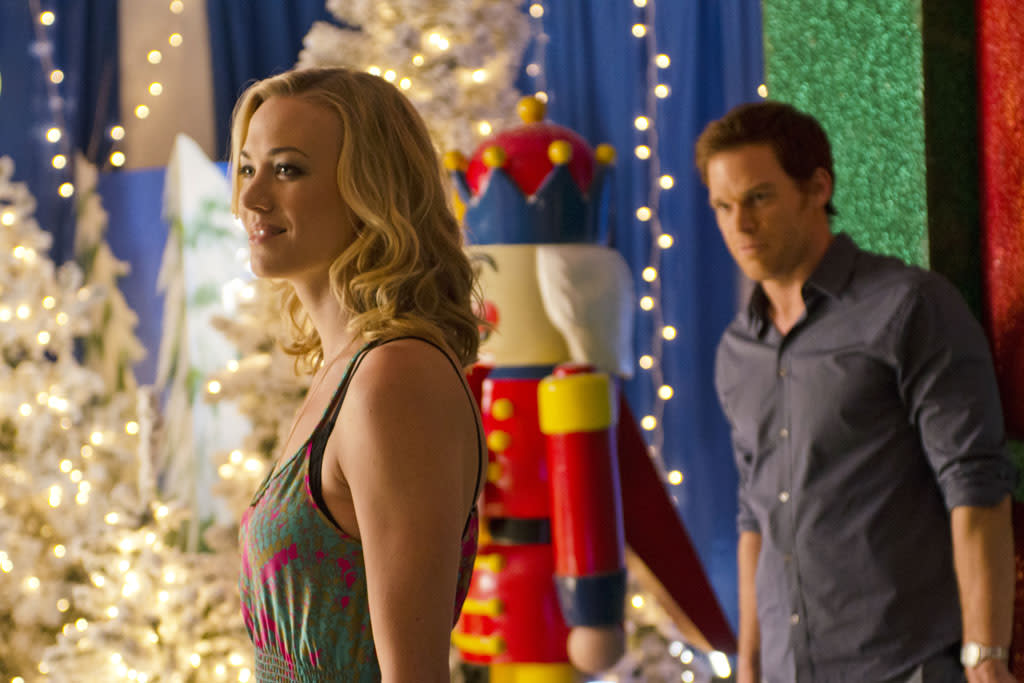"Yvonne Strahovski as Hannah McKay and Michael C. Hall as Dexter in the ""Dexter"" episode, ""Do the Wrong Thing."""
