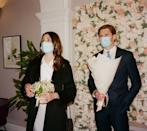 """<p>For obvious reasons, the happy couple, and all their guests, might need (or want) to wear masks on their special day.</p><p>And a special day might mean swapping out your usual, disposable, medical masks, for something a little more luxe. </p><p>'""""Bridal"""", """"wedding"""" and """"matching"""" face masks are becoming most couples' """"something new"""" and have been generating over 30,000 monthly searches collectively,' according to Lyst.</p><p>If we were you, <a href=""""https://go.redirectingat.com?id=127X1599956&url=https%3A%2F%2Fwww.selfridges.com%2FGB%2Fen%2Fcat%2Fslip-reusable-silk-face-covering_R03663741%2F&sref=https%3A%2F%2Fwww.elle.com%2Fuk%2Flife-and-culture%2Fwedding%2Fg29498802%2Fwedding-trends%2F"""" rel=""""nofollow noopener"""" target=""""_blank"""" data-ylk=""""slk:we'd go for silk"""" class=""""link rapid-noclick-resp"""">we'd go for silk</a>. </p><p><a href=""""https://www.instagram.com/p/CN-iGHKBGNs/"""" rel=""""nofollow noopener"""" target=""""_blank"""" data-ylk=""""slk:See the original post on Instagram"""" class=""""link rapid-noclick-resp"""">See the original post on Instagram</a></p>"""