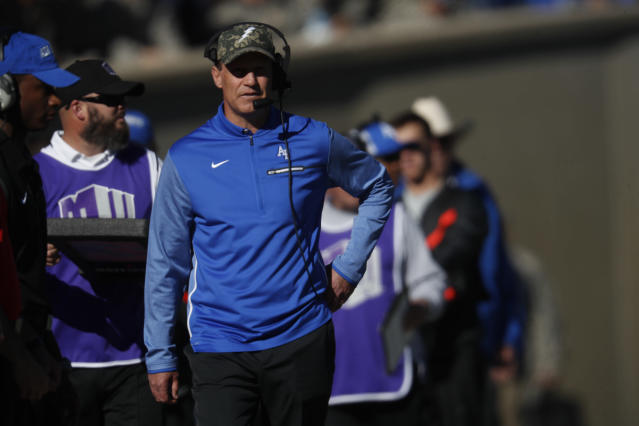 Air Force Falcons head coach Troy Calhoun in the first half of an NCAA college football game Saturday, Nov. 4, 2017, at Air Force Academy, Colo. (AP Photo/David Zalubowski)