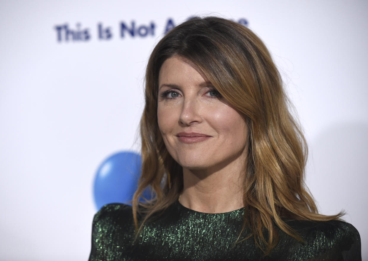 """Sharon Horgan arrives at the world premiere of """"Game Night"""" at the TCL Chinese Theatre on Wednesday, Feb. 21, 2018, in Los Angeles. (Photo by Chris Pizzello/Invision/AP)"""