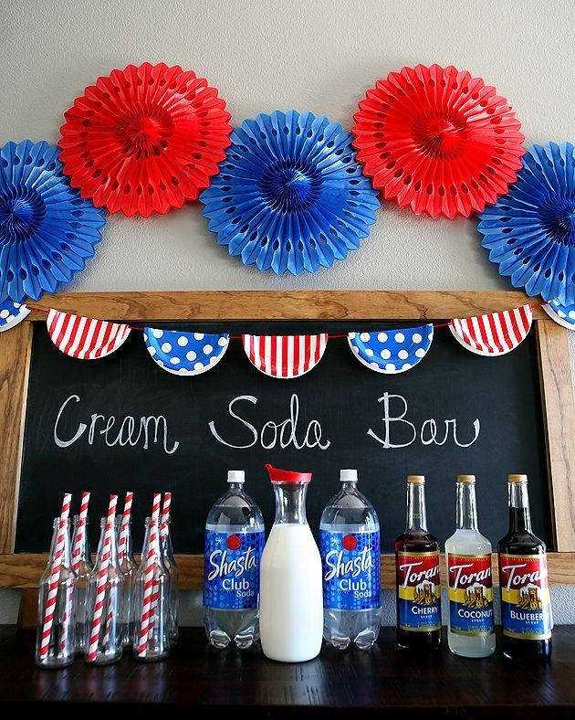 """<p>Alternatively, you could set up a DIY soda bar—it's a nostalgic touch that'll make the adults and seniors in attendance long for summer's past. </p><p><a class=""""link rapid-noclick-resp"""" href=""""https://eighteen25.com/red-white-and-blue-cream-soda-bar/"""" rel=""""nofollow noopener"""" target=""""_blank"""" data-ylk=""""slk:GET THE TUTORIAL"""">GET THE TUTORIAL</a></p><p><a class=""""link rapid-noclick-resp"""" href=""""https://www.amazon.com/Flip-Glass-Bottle-Liter-Pack/dp/B07JZWGQQN/ref=sr_1_2?dchild=1&keywords=clear+glass+beer+bottles&qid=1591648474&s=instant-video&sr=1-2&tag=syn-yahoo-20&ascsubtag=%5Bartid%7C10072.g.32715018%5Bsrc%7Cyahoo-us"""" rel=""""nofollow noopener"""" target=""""_blank"""" data-ylk=""""slk:SHOP BOTTLES"""">SHOP BOTTLES</a></p>"""