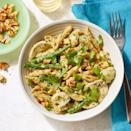 """<p>Homemade pesto may seem daunting, but in this quick pasta recipe you can make a simple sauce in minutes while the pasta water comes to a boil. You can substitute frozen green beans and cauliflower for fresh; in Step 4, cook the frozen vegetables according to package directions before tossing with the pasta and pesto. <a href=""""https://www.eatingwell.com/recipe/270567/chicken-vegetable-penne-with-parsley-walnut-pesto/"""" rel=""""nofollow noopener"""" target=""""_blank"""" data-ylk=""""slk:View Recipe"""" class=""""link rapid-noclick-resp"""">View Recipe</a></p>"""
