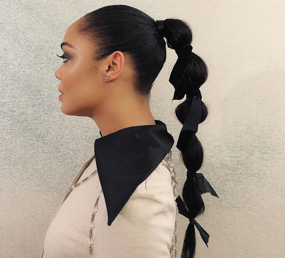Take a bubble pony from sporty to romantic with a few bows.