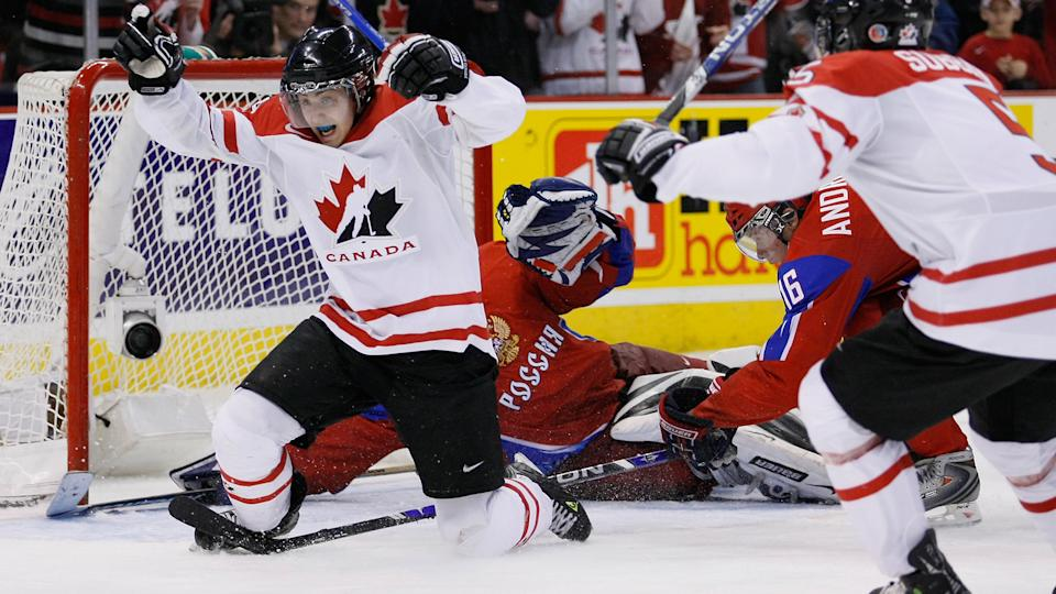 Jordan Eberle scored one of the most iconic goals ever for Team Canada against Russia at the 2009 world junior championship. (Photo by Richard Wolowicz/Getty Images)