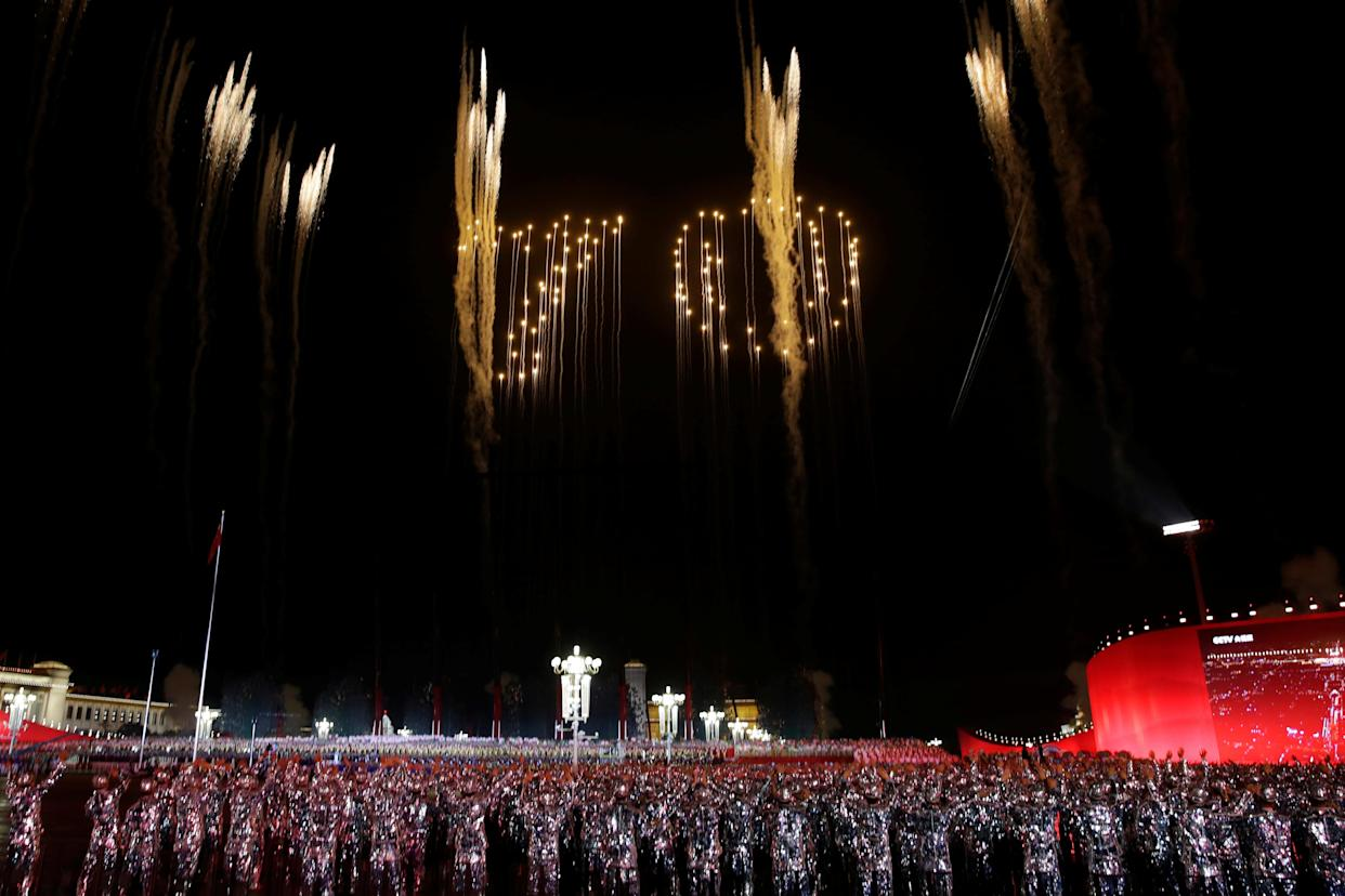 """The number """"70"""" formed by fireworks is seen in the sky over Tiananmen Square during the evening gala marking the 70th founding anniversary of People's Republic of China, on its National Day in Beijing, China October 1, 2019. (Photo: Jason Lee/Reuters)"""