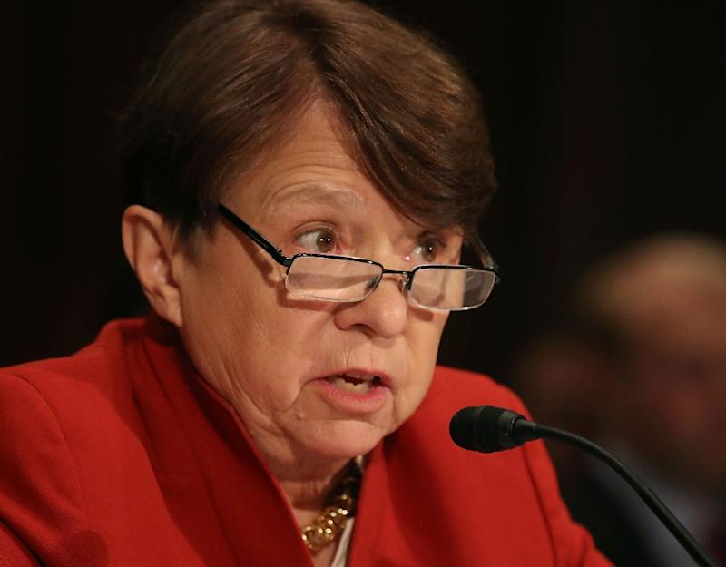 SEC Chair Mary Jo White, pictured in June 2016, becomes the first major political appointee to head for the exit when President Barack Obama leaves office