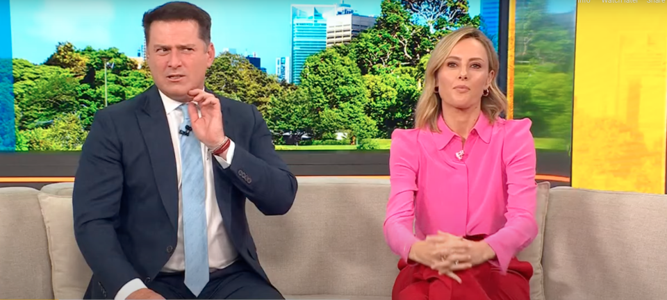 Karl Stefanovic and Ally Langdon on the Today couch