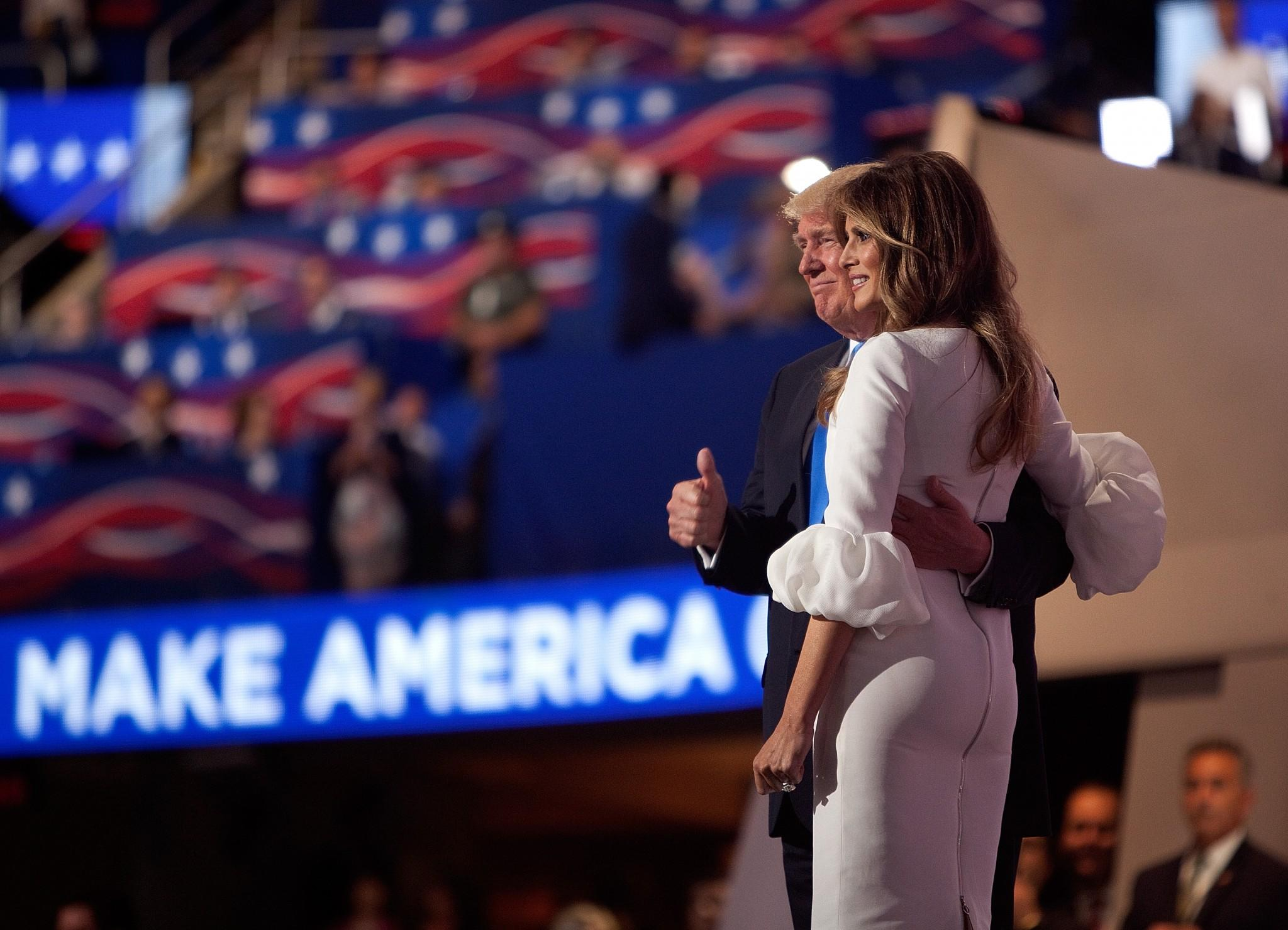 Donald Trump and his wife, Melania, enjoy the applause after her speech at the Republican National Convention on Monday, July 18, 2016, in Cleveland. (Photo: Khue Bui/Yahoo News)