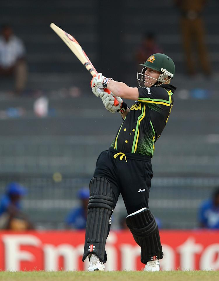 COLOMBO, SRI LANKA - SEPTEMBER 19:  David Warner of Australia bats during ICC World Twenty20 2012: Group B match between Australia and Ireland at R. Premadasa Stadium on September 19, 2012 in Colombo, Sri Lanka.  (Photo by Gareth Copley/Getty Images)