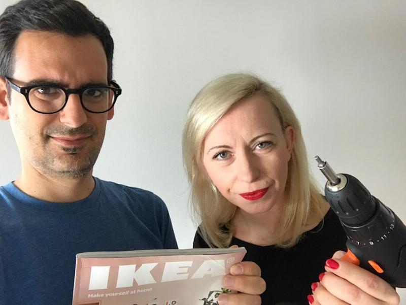 Alex and Ania are outraged at the outdated ad. Photo: Mercury Press