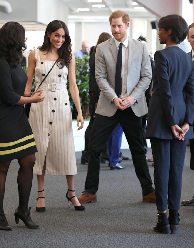 Meghan Markle's sleeveless dress also drew criticism. (Photo: Getty Images)