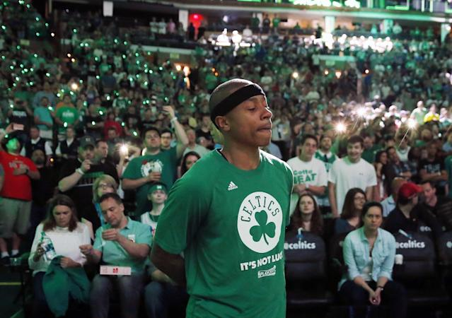 It was a remarkably difficult and emotional day for Isaiah Thomas. (AP)