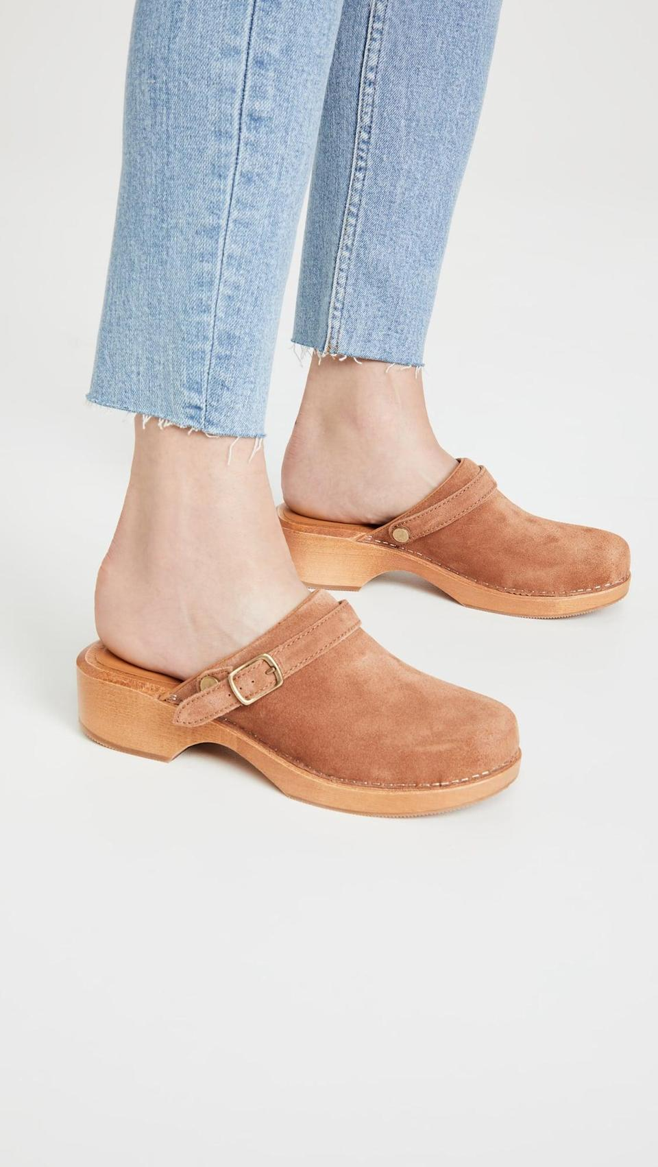<p>We love the shade of these <span>RE/DONE 70's Classic Clogs</span> ($415). The brown suede would look perfect with light wash jeans.</p>