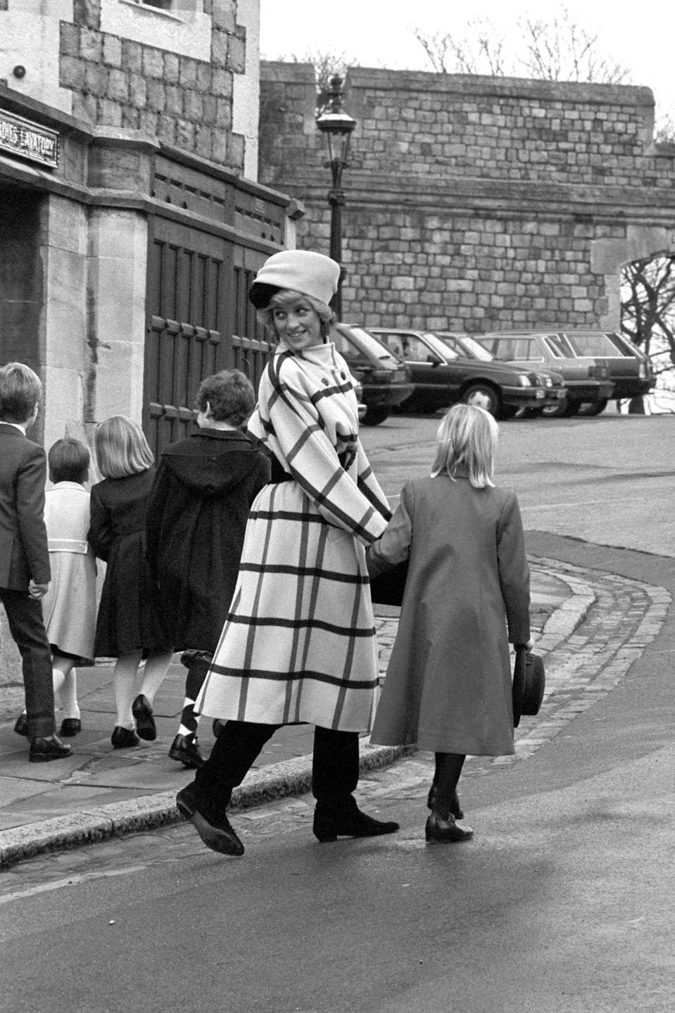 The Princess of Wales escorts the royal youngsters after attending the Christmas Day service at St George's Chapel, Windsor. (PA Images)