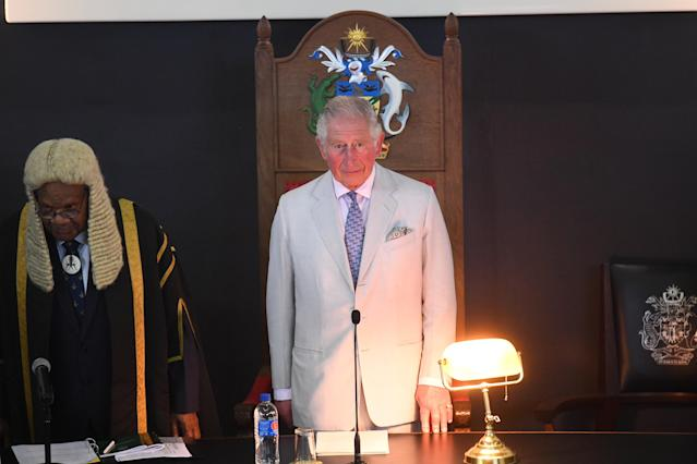 Prince Charles addresses the National Parliament of the Solomon Islands. (Getty)