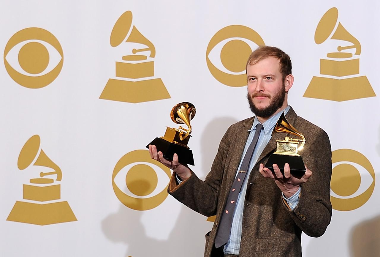 "LOS ANGELES, CA - FEBRUARY 12:  Musician Justin Vernon of Bon Iver, winner of the GRAMMYs for Best Alternative Music Album for ""Bon Iver"" and Best New Artist, poses in the press room at the 54th Annual GRAMMY Awards at Staples Center on February 12, 2012 in Los Angeles, California.  (Photo by Kevork Djansezian/Getty Images)"