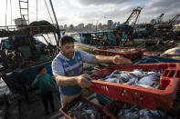 Fisherman load a horse-drawn cart before delivering their haul to market after a limited number of boats were allowed to return to the sea following a cease-fire reached after an 11-day war between Hamas and Israel, in Gaza City, Sunday, May 23, 2021. (AP Photo/John Minchillo)