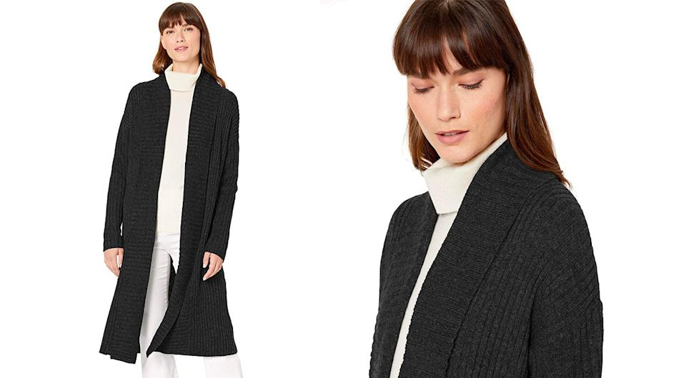 She's wearing blue, but sure isn't looking it wearing this versatile sweater coat in navy. (Photo: Amazon)