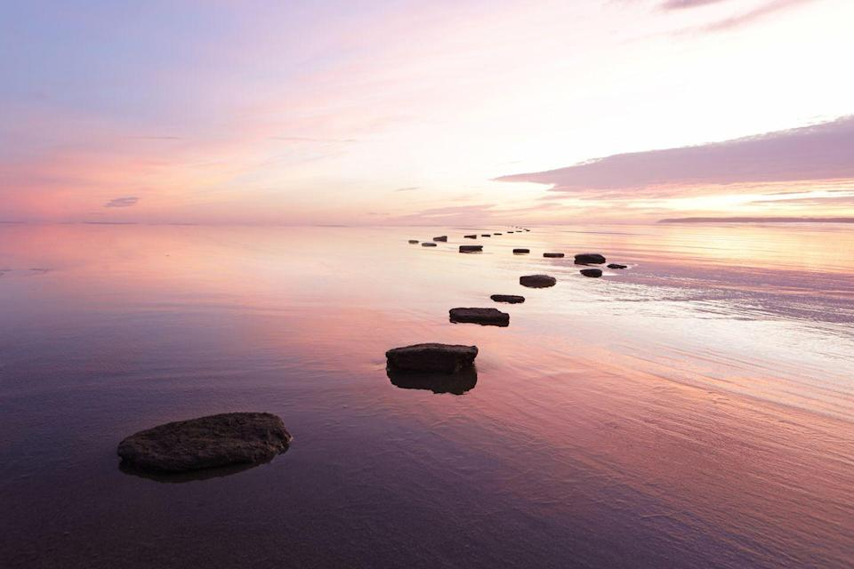 <p>Peep these pretty stepping stones at sunset. </p>