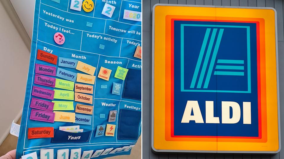 An ALDI toy calendar, pictured left, that is missing a day of the week and doubled up on Friday. Right: The Aldi logo outside a store.