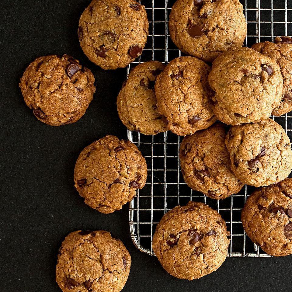 <p>EatingWell reader Beverley Sharpe of Santa Barbara, California, contributed this healthy chocolate chip cookie recipe. She gave chocolate chip cookies a healthy update by cutting back on sugar and incorporating whole grains. To increase protein, Sharpe replaces the rolled oats with 1 cup almond meal.</p>