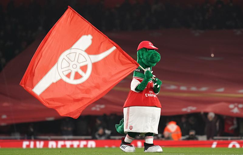 Out-of-favor Arsenal midfielder Mesut Özil is nevertheless offering to pay the full salary for club mascot Gunnersaurus as long as he's an Arsenal player. (Photo by John Walton/PA Images via Getty Images)