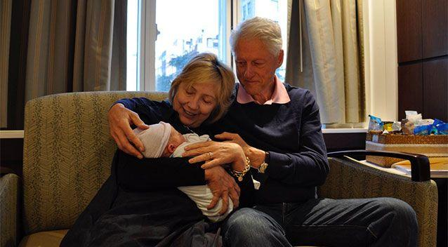 The Clintons coo over their grandson, Aidan. Picture: Twitter/Hillary Clinton