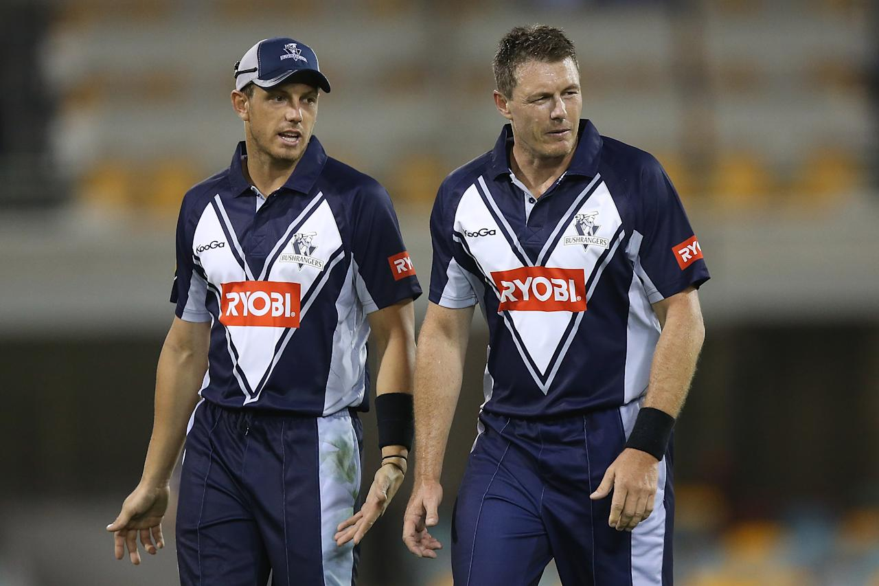 BRISBANE, AUSTRALIA - OCTOBER 07:  James Pattinson and Darren Pattinson of the Bushrangers look on during the Ryobi One Day Cup match between the Queensland Bulls and the Victoria Bushrangers at The Gabba on October 7, 2012 in Brisbane, Australia.  (Photo by Chris Hyde/Getty Images)