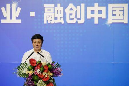 Chairman of Sunac China Holdings Ltd. Sun Hongbin speaks during a strategic cooperation signing ceremony with Dalian Wanda Group and R&F Properties in Beijing