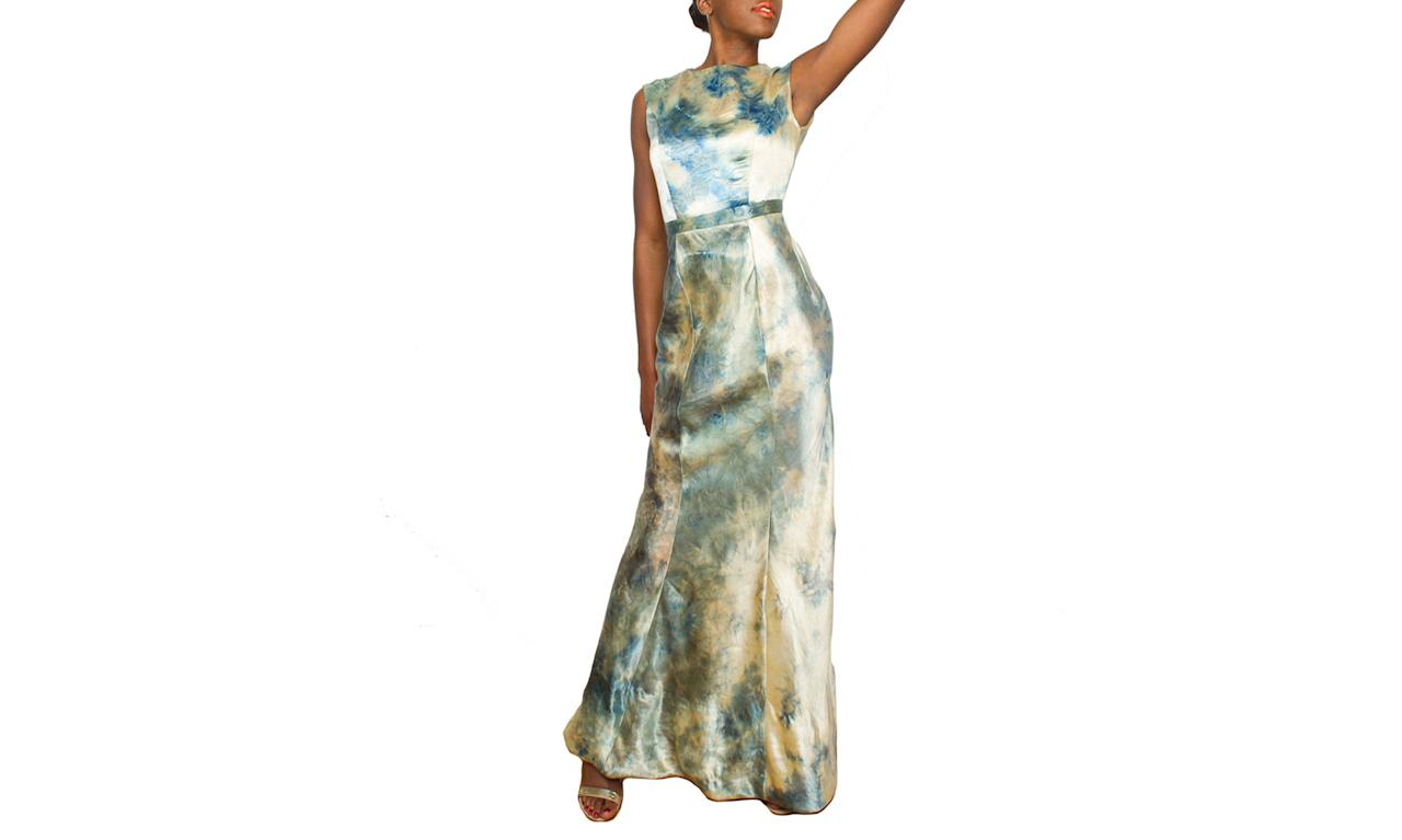 """<p>Founded by Kristen Luong, Kromagnon is a high-fashion women's-wear and menswear line based in New York City that uses sustainably produced materials such as organic cotton, Tencel, and hemp. This gown uses a hand-dyed indigo watercolor process and is made of 70 percent hemp and 30 percent peace silk (made from coccoons that have been harvested after the moths have left them) and lined with an organic cotton batiste.<br /><br />Evening Gown, $2,400, <a rel=""""nofollow"""" href=""""https://www.kromagnon.com/collections/womens-apparel/products/evening-gown?variant=40190596500"""">kromagnon.com</a> </p>"""