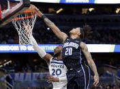 Orlando Magic guard Markelle Fultz, right, blocks a shot by Minnesota Timberwolves guard Josh Okogie, but was then called for goaltending during the first half of an NBA basketball game Friday, Feb. 28, 2020, in Orlando, Fla. (AP Photo/John Raoux)