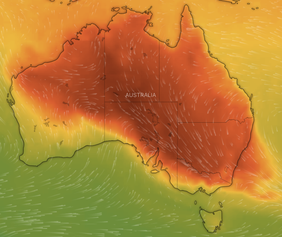Map of the high temperatures across Australia.