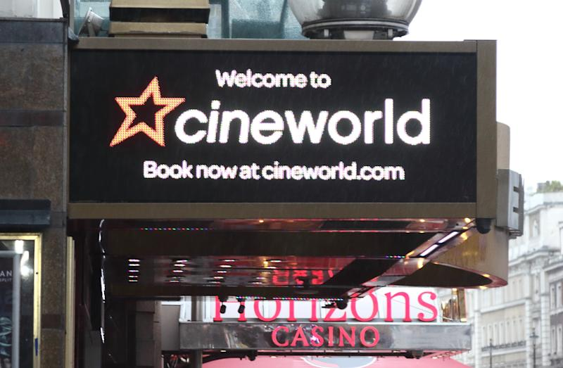 LONDON, -, UNITED KINGDOM - 2019/01/27: Cineworld brand logo seen in London, UK. (Photo by Keith Mayhew/SOPA Images/LightRocket via Getty Images)
