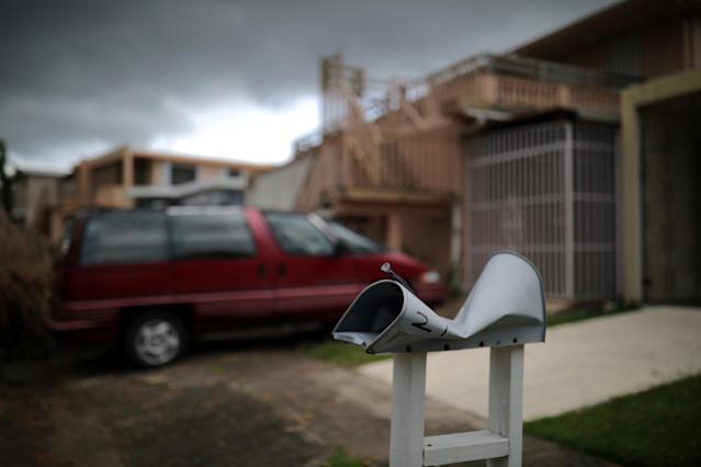 <p>A damaged mail box is seen at an area affected by Hurricane Maria in San Juan, Puerto Rico, in the island of Vieques, Puerto Rico, Oct. 8, 2017. (Photo: Carlos Barria/Reuters) </p>