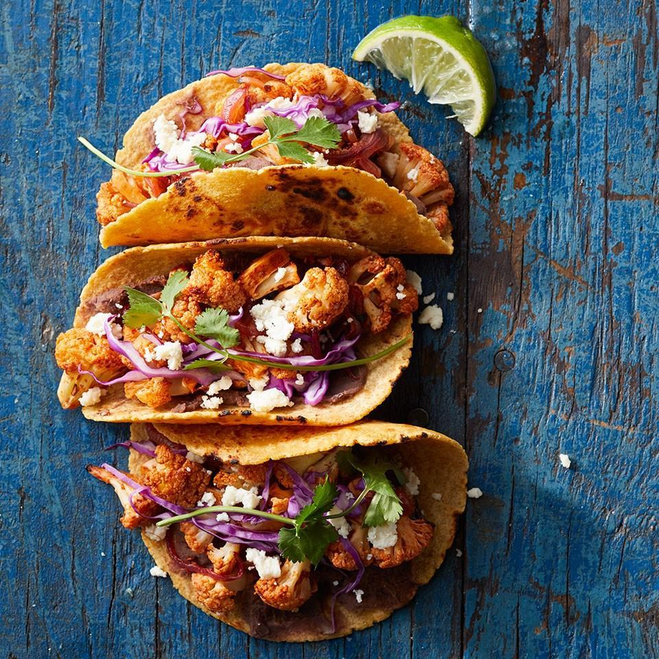 <p>In this vegetarian taco recipe, cauliflower is tossed with a smoky-tangy sauce made with honey, lime juice and chipotles in adobo sauce before being roasted. Serve with more hot sauce, if desired.</p>