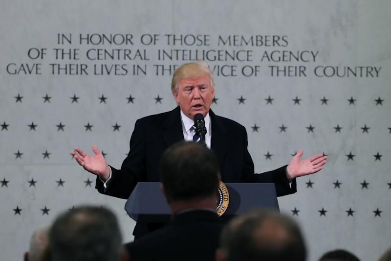 U.S. President Donald Trump delivers remarks during a visit to the Central Intelligence Agency (CIA) in Langley, Virginia U.S.