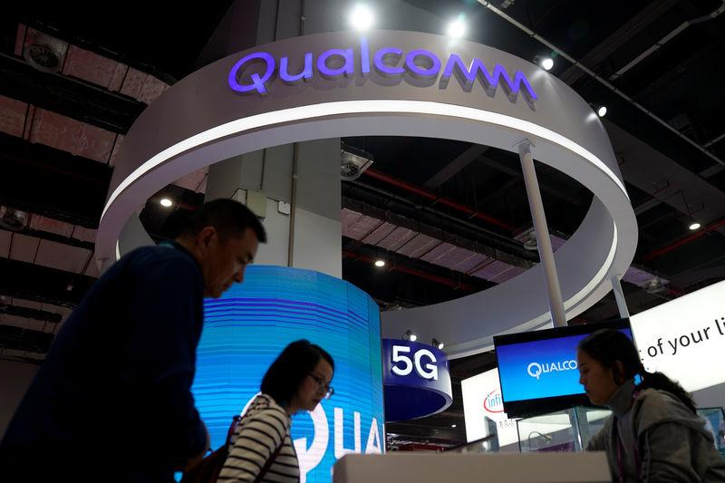 A Qualcomm sign is seen during the China International Import Expo (CIIE), at the National Exhibition and Convention Center in Shanghai,