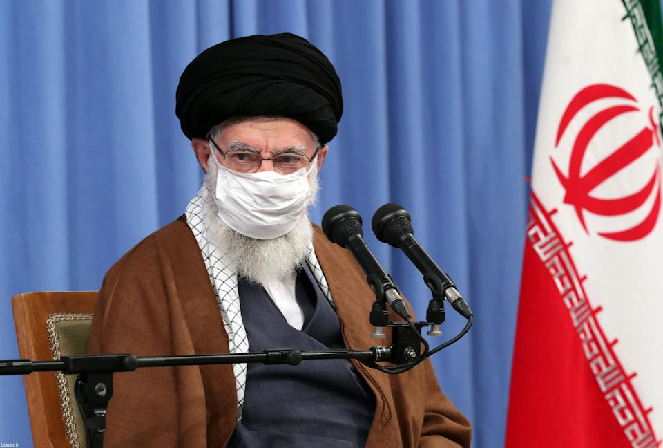 A handout picture provided by the office of Iran's Supreme Leader Ayatollah Ali Khamenei on October 24, 2020. (KHAMENEI.IR/AFP via Getty Images)