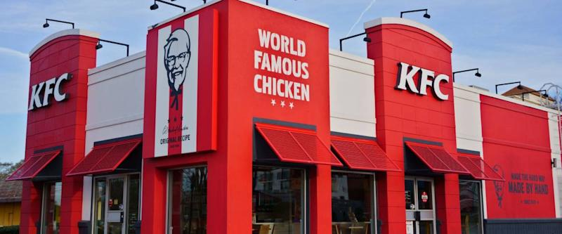 ATLANTA, GEORGIA, USA - MARCH 19, 2019: KFC Kentucky Fried Chicken fast food restaurant. American restaurant chain, specializing in fried chicken.