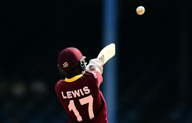 West Indies' Evin Lewis plays a shot during the third of four-T20I-match between West Indies and Pakistan at the Queen's Park Oval in Port of Spain, Trinidad, on April 1, 2017 (AFP Photo/Jewel SAMAD)