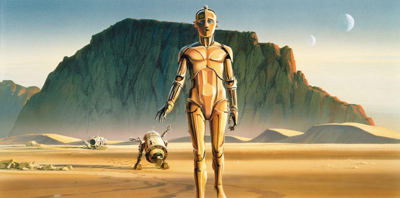 A variation of the Ralph McQuarrie's concept art for the 'Star Wars' droids. (Image courtesy of 'Star Wars Art: Ralph McQuarrie,' Abrams Books, 2016; copyright 2016 Lucasfilm Ltd.)