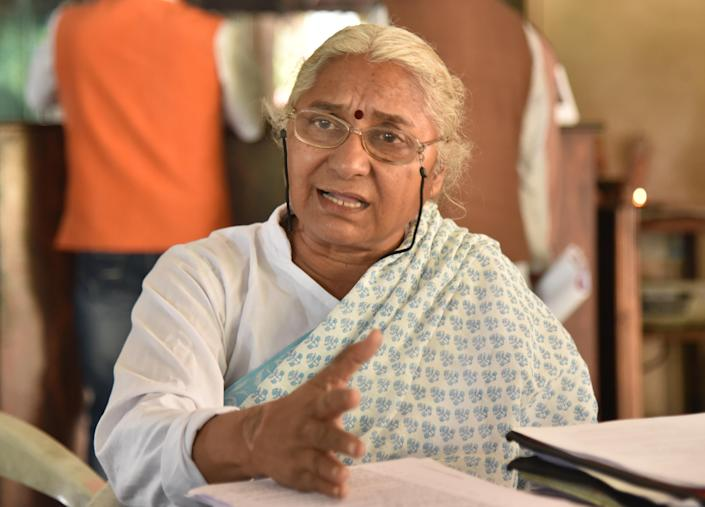 BHOPAL, INDIA - FEBRUARY 18: Narmada Bachao Andolan (NBA) leader Medha Patkar speaks during a press conference at Ravindra Bhawan on February 18, 2019 in Bhopal, India. (Photo by Mujeeb Faruqui/Hindustan Times)