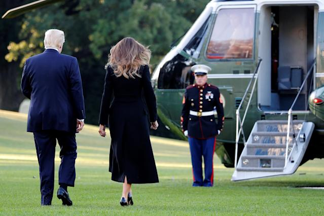 <p>President Donald Trump and first lady Melania Trump depart for travel to Las Vegas, in the aftermath of the shooting there, from the South Lawn of the White House in Washington, Oct. 4, 2017. (Photo: Jonathan Ernst/Reuters) </p>