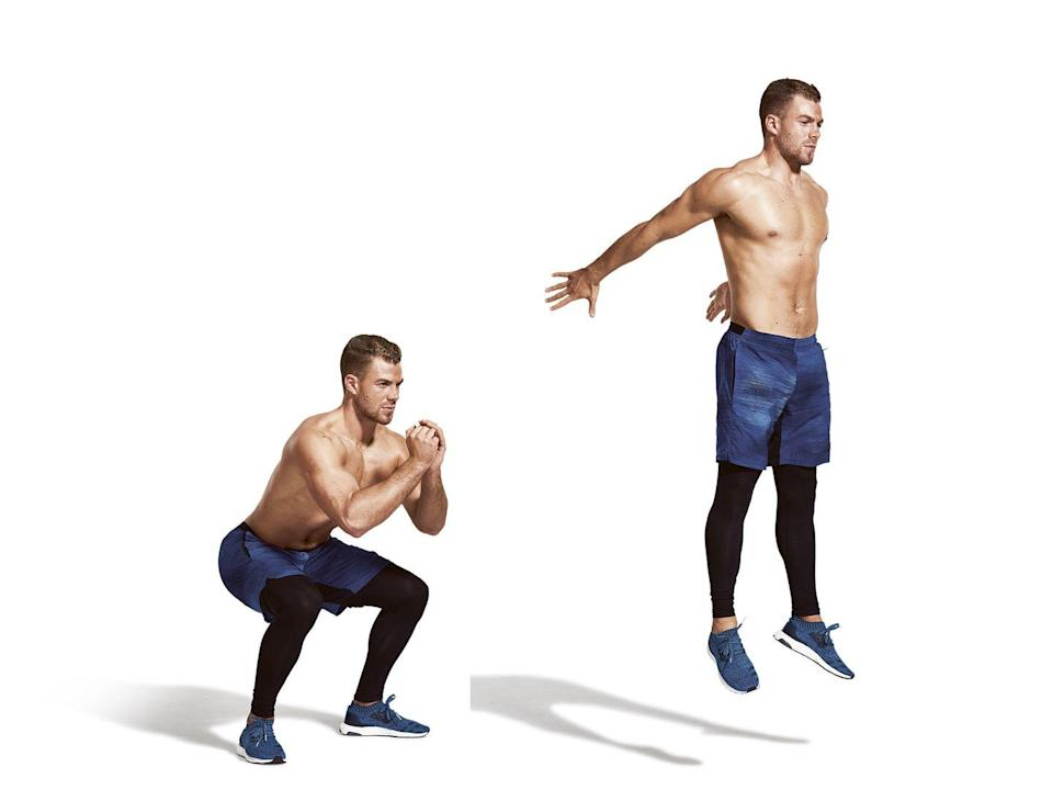 <p><strong>Sets: 2</strong></p><p><strong>Reps: 60sec</strong></p><p><strong>Rest: 0</strong></p><p>Squat down, keeping your back straight, until your thighs are parallel with the floor and your bum is about level with your knees. Explode upwards into a jump, and go straight into the next squat.</p>