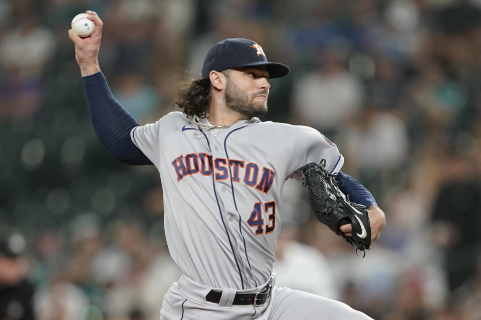 Houston Astros starting pitcher Lance McCullers Jr. throws to a Seattle Mariners batter during the sixth inning of a baseball game Tuesday, July 27, 2021, in Seattle. (AP Photo/Ted S. Warren)