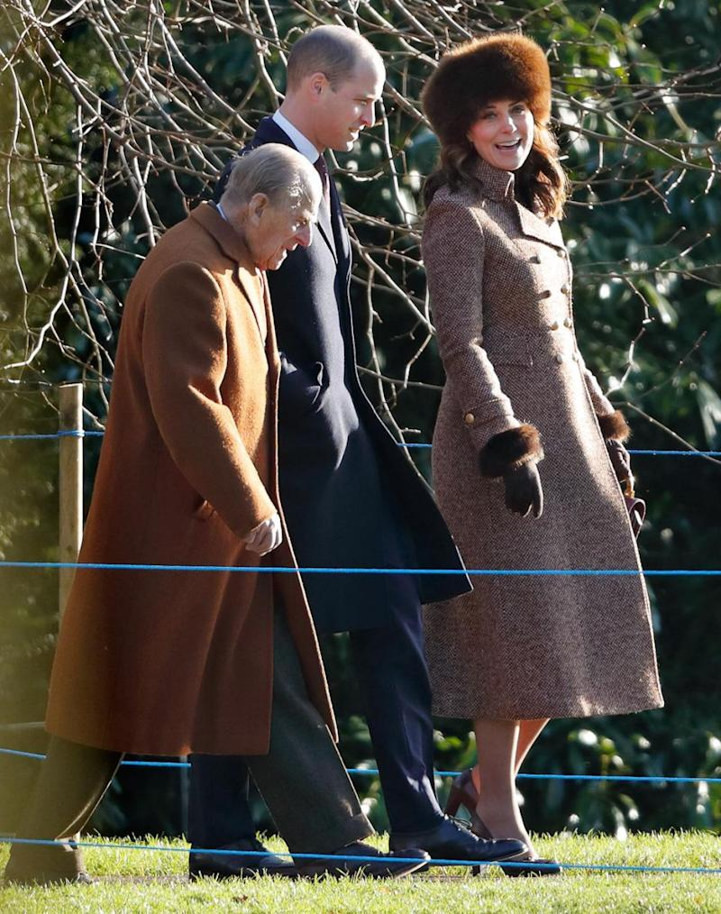 Kate Middleton arrived at Sandringham Church with Prince William and Prince Philip. Photo: Getty Images