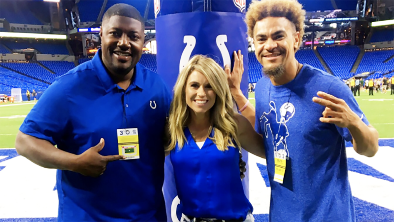 Chris Beaty, pictured here with Larra Overton at an Indianapolis Colts game.