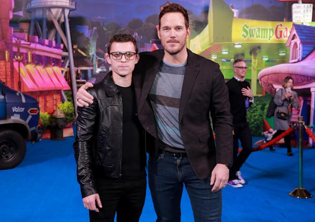 "HOLLYWOOD, CALIFORNIA - FEBRUARY 18: Tom Holland and Chris Pratt attend the Premiere of Disney and Pixar's ""Onward"" on February 18, 2020 in Hollywood, California. (Photo by Rich Fury/Getty Images)"